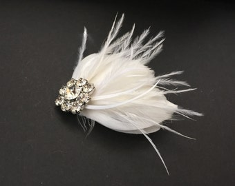 Tia Art Deco Vintage Style Feathered Bridal Headpiece Flapper Wedding Made to Order Free Shipping