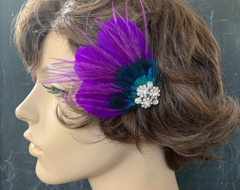 Kamala purple, teal blue and turquoise feathered Headpiece Vintage Style Something Blue Bridal Fascinator Wedding Bridal special occasion
