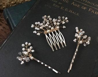 Theta handmade headpiece hairpins and comb set of three hairpick bridal flowergirl pearl rhinestone crystal woodland rustic fairy tale