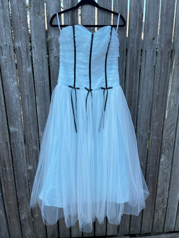 Jessica McClintock Tulle Ball Gown Dress Ice Blue
