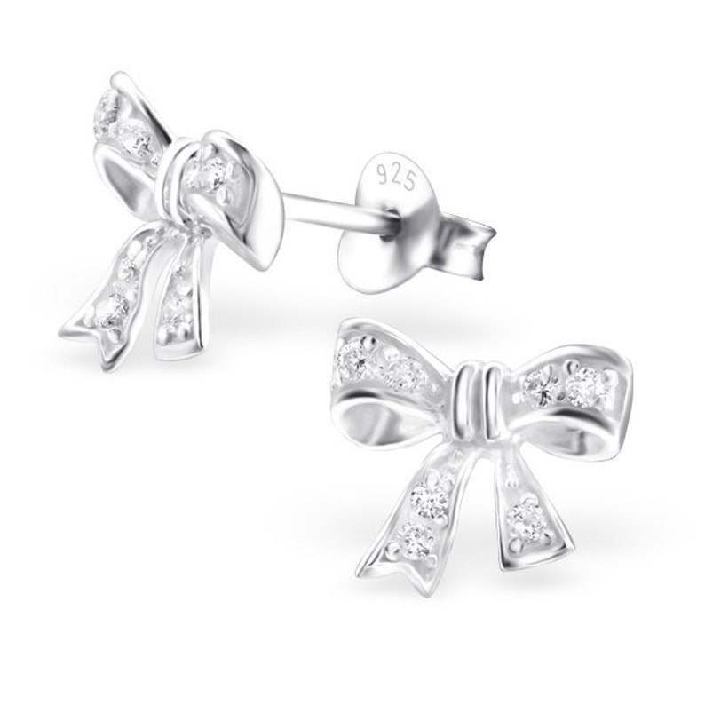 Rose Gold Bow Tie Stud Earrings 14K Yellow White