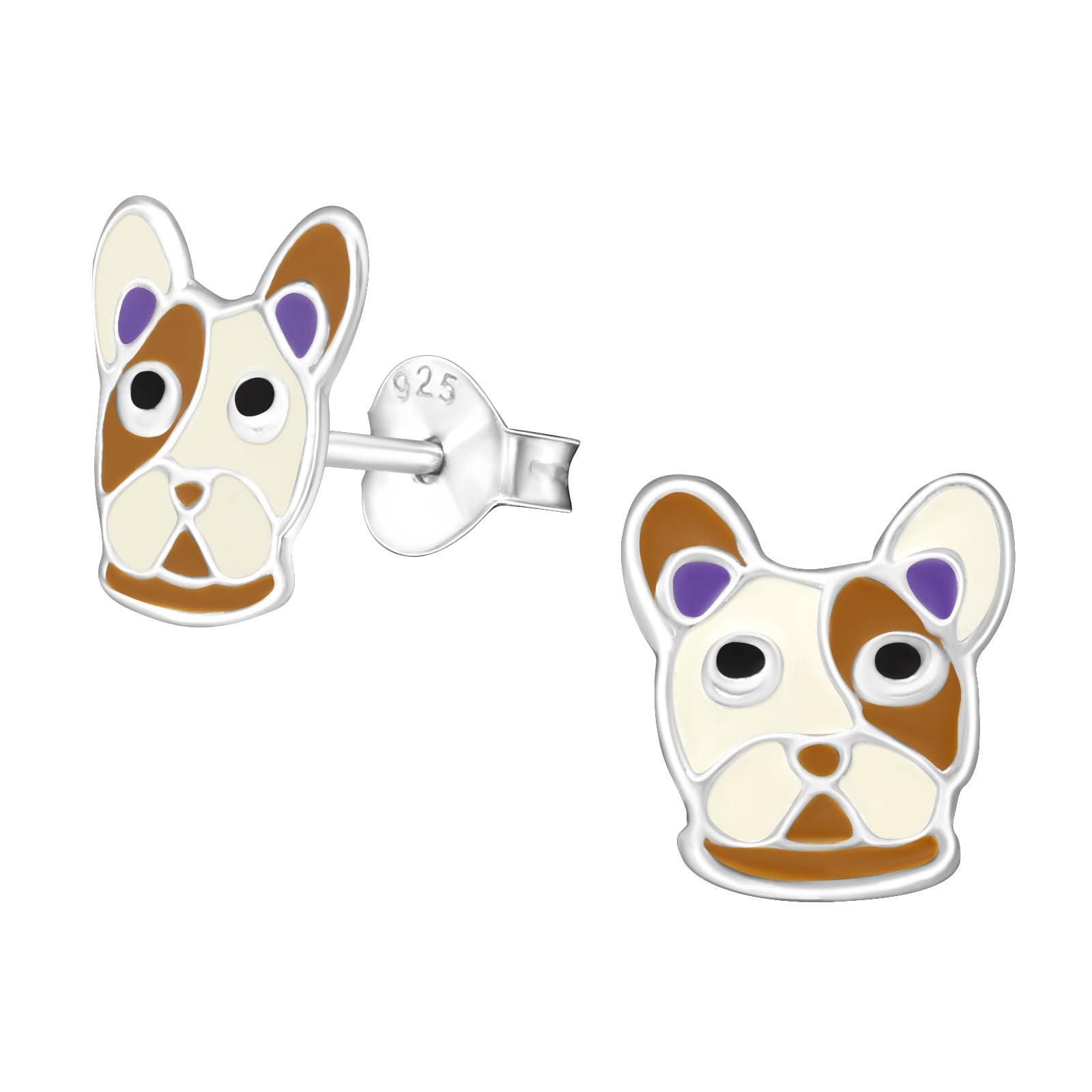 Bulldogs Christmas Earrings Pair Acrylic Silver Tone White Dog British English