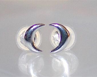 Crescent Moon Stud Earrings 925 Sterling Silver - ES6543