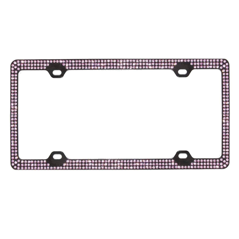 Inset PINK Crystal Rhinestone on Black License Plate Frame w// Swarovski Elements