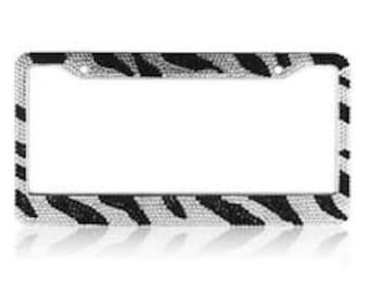 Zebra Crystal Rhinestone license Plate Frame