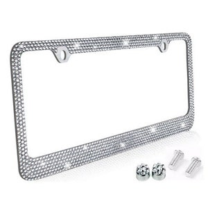 HUGS IDEA Auto Car Tag Frame for Women Men Gifts Metal License Plate Frame Holder Funny Cow Lover Printed License Plate Frame with 4 Holes and 4 Screws