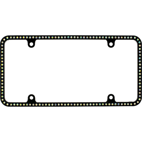 Thin CAPRI BLUE Crystal License Plate Frame Caps made with Swarovski Elements