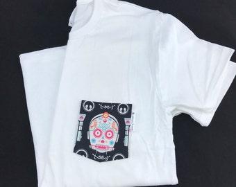 Star Wars T-shirt, C-3PO Sugar Skull Pocket Tee Shirt