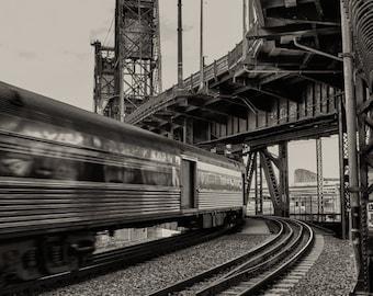 Portland Steel Bridge / Photograph / Train / Black and White / Fine Art