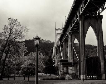 Portland Cathedral Park / St. Johns Bridge / Photograph / Black and White / Fine Art / Decor