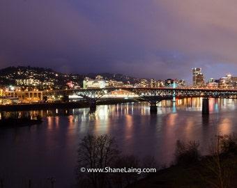 Portland City At Night Landscape / Bridge / Photography / Fine Art