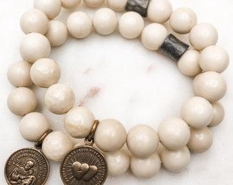 St. Joseph petrified wood and river stone bracelet