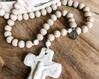 Miraculous medal wood bead rosary