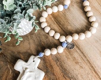 St. Joan of Arc wood bead rosary
