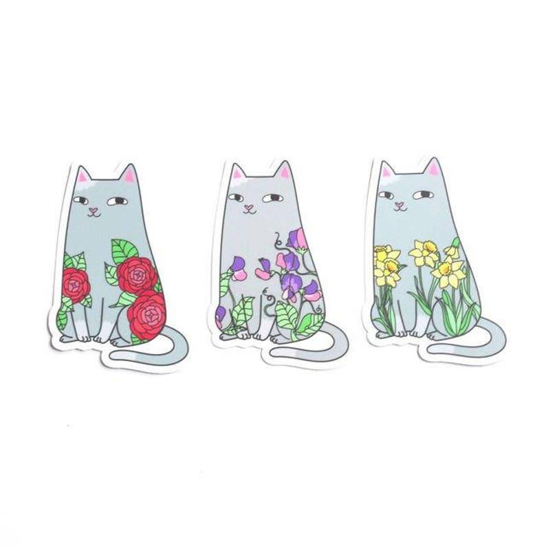 Cats & Flowers Vinyl Sticker Set image 0
