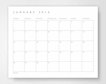 2018 printable calendar printable 2018 wall calendar printable 2018 calendar calendar print large printable wall calendar minimalist