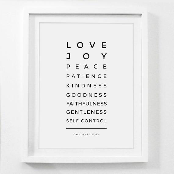 bible verse print fruit of the spirit love joy peace etsy