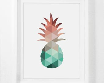 Summer Art Prints, Mint and Coral, Pineapple Decor, Summer Art, Summer Print, Mint Art, Coral Art, Coral Mint, Pineapple Wall Art, Wall Art