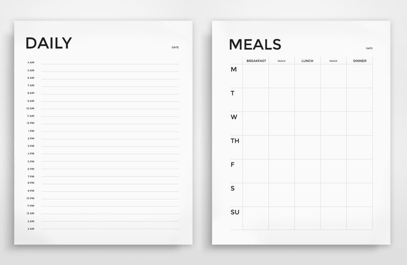 graphic about Daily Planner Printable titled Printable Planner, Day-to-day Planner, Weekly Planner, Grocery Listing, Towards Do Listing, Supper Planner, Printable, Minimalist, Revolutionary, Each day Organizer