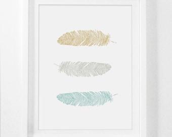 Printable Art, Wall Prints, Feather Print, Yellow Print Art, Mustard and Teal Wall Art, Feather Art Prints, Nursery Art, Digital Download