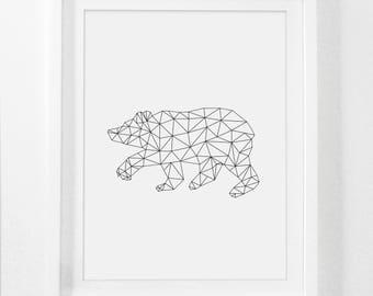 Geometric Bear, Geometric Animal Art, Geometric Animal, Geometric Nursery, Bear Art Print, Bear Decor, Bear Home Decor, Bear Nursery Art