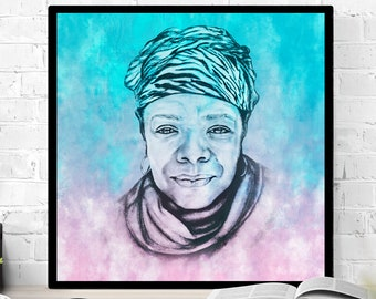 Maya Angelou Print in Pink and Blue framed art print of my original Maya Angelou sketched portrait in black frame Phenomenal Woman Activist