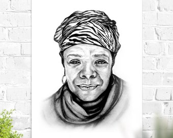 Maya Angelou Print Wall Art original sketched portrait printed on durable matte paper Activist Author Poster Home Decor in Black and White