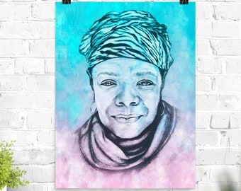 Maya Angelou Poster Print in Pink and Blue art print of original Maya Angelou sketched portrait on matte poster paper Feminist Poet Activist