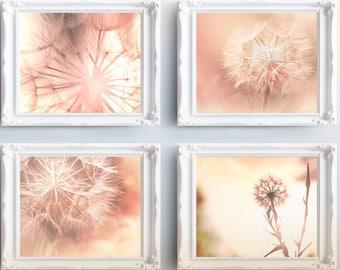 Printable Pink Dandelion Photography Wall Art Set -pink dandelion flower photography nursery digital prints art sets printable floral nature