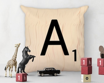 "Decorative Scrabble Pillow - Letter A - 18"" x 18"" Square Accent Pillow - each letter with unique wood pattern - cover and insert included"