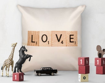Scrabble LOVE Pillow - Square pillow for great home decor and gift idea!