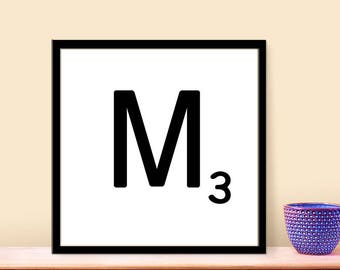 DIY Wall Art, Letter M-Personalized Word Art, Instant Download, Printable Letter, Scrabble Wall Art, Alphabet Art, Downloadable Image, Print