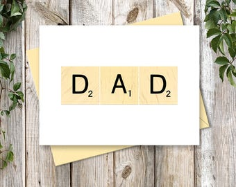 Father's Day Printable Card - Gift For Dad - Printable Art - INSTANT DOWNLOAD - Digital Card - DAD Scrabble Art for Scrabble Lovers