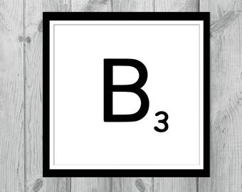 Instant Download Art - Printable Art - Print at Home - Printable Downloads- Monogram Printables - Printable Letters  - Alphabet Letter B