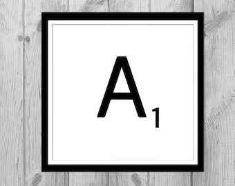 Digital Monogram A - INSTANT DOWNLOAD Printable Scrabble Letter Tile A, Scrabble Wall Art