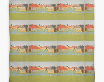 Houses Panorama Duvet Cover Queen bed