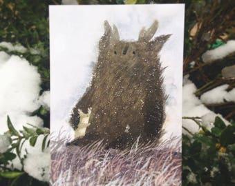 cute animals card winter post card hollyday post card hugs post card love post card greeting card winter animals deer snow forest spirit