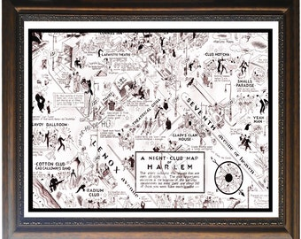 Night Club map of Harlem POSTER large 12 x 16 print