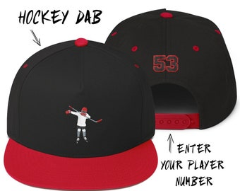 9a37a0de3e2 HOCKEY DAB Snapback hat personalized with your CUSTOM player number on the  back Flat Bill Embroidered baseball Cap Best hockey player gift