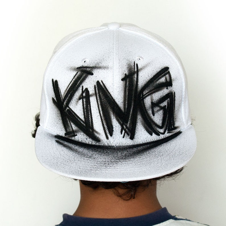 0fab8ed2c4b92 KING hat Custom painted snapback hat with your CUSTOM TEXT
