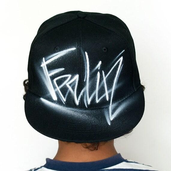 Handwriten black snapback hat Handwritten letters  18c88a04ee4a