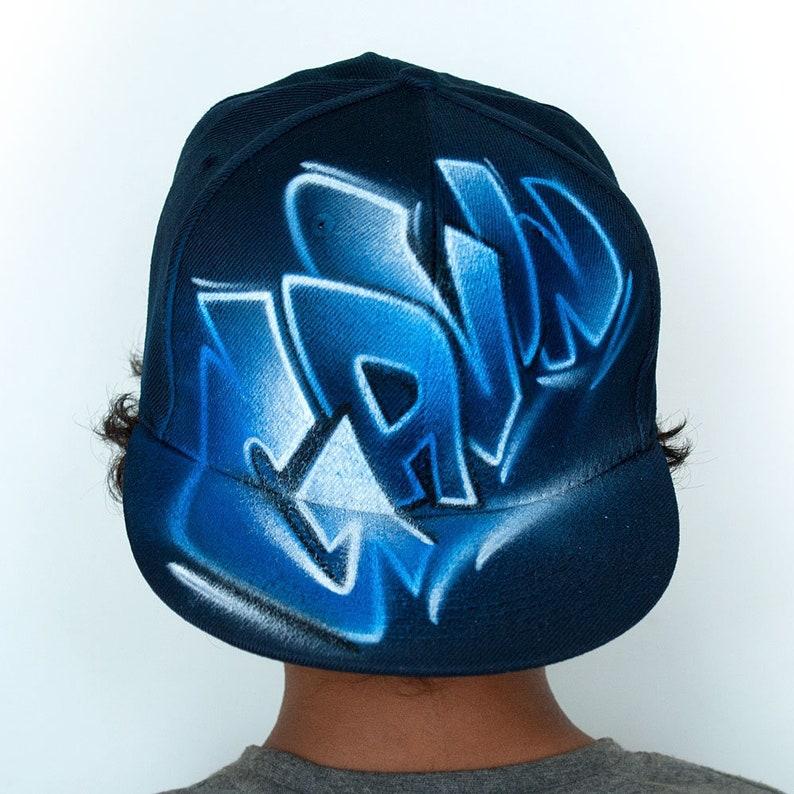 Custom Snapback Hat Graffiti Airbrushed Hip Hop Style Flat Etsy