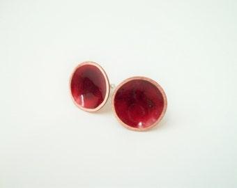Handmade  copper  enamel post earrings .