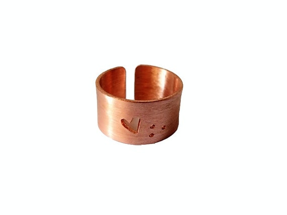 Man Ring Men Rings Beaded Design Adjustable Ring Wide Band Thick Band Copper Ring Adjustable Band Brass and Copper Handmade Ring