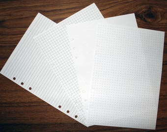 Individual Lined, Grid, Blank or Dot Grid Paper for your Filofax, Kikki K, Paperchase Style 6-ring binders.  (RLGBD)