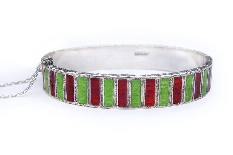 Bracelet Victorian Edwardian Sterling Red Green Guilloche Clamper Bangle