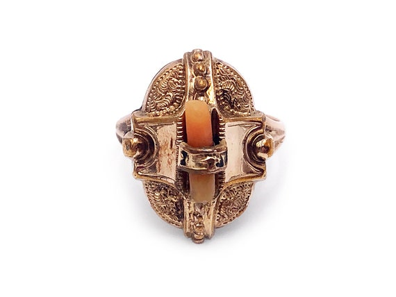 Antique Victorian 10k Ring Coral 3.58g Size 6.5