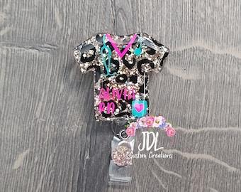 leopard print badge reel beach badge reel nurse badge reel custom personalized badge reel Monogram badge reel Glitter badge reel