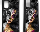 Sugar skull girl day of the dead tattoo gothic rose graphic phrase rubber cover for samsung galaxy s8 s9 s10 s10e S20 S20 plus phone case