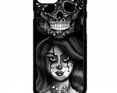 fa3289ddb9331 Clown Girl jester joker doll candy skull tattoo graphic art cover for  iphone 4 4s 5 5s 5c SE 6 6s 7 8 plus X phone case